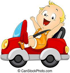 bambino, automobile, guida