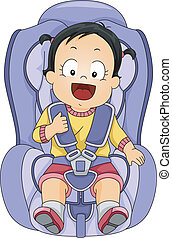 bambino, automobile, ragazza, posto