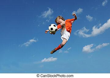 bambino, calcio, o, football, gioco