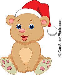 bambino, carino, cartone animato, orso, seduta