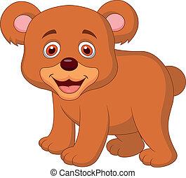bambino, carino, cartone animato, orso