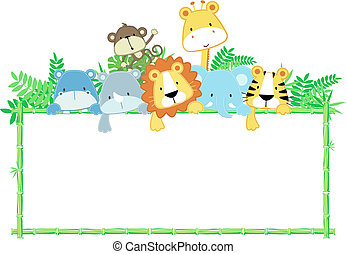 bambino, carino, cornice, animali, giungla