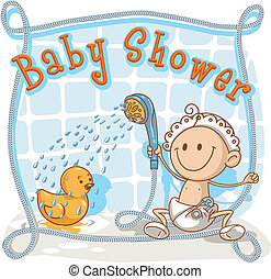 bambino, cartone animato, doccia, invito