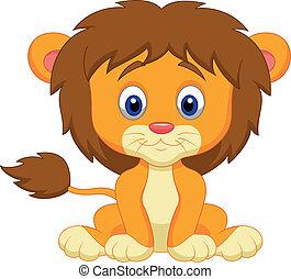 bambino, cartone animato, leone, seduta