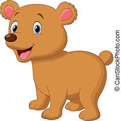 bambino, cartone animato, orso, carino