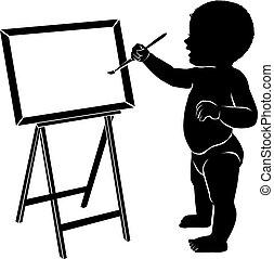bambino, cavalletto, silhouette, spazzola, disegno