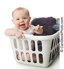 bambino, cesto, bucato