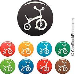 bambino, colorare, triciclo, set, icone