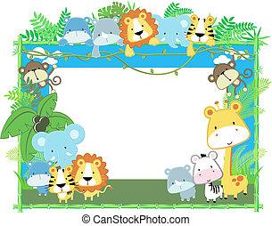 bambino, cornice, vettore, animali