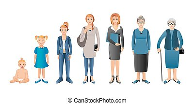 bambino, donna, adulto, generazione, studente, bambino, woman., donna senior, affari, infanti, seniors., adolescente