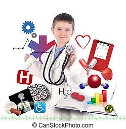 bambino, dottore, salute, bianco, icone