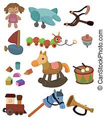bambino, giocattolo, cartone animato, icona