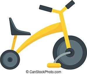 bambino, icona, stile, triciclo, appartamento