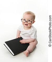 bambino, il portare, occhiali per leggere