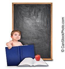 bambino, libro scuola, lavagna