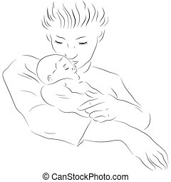 bambino, madre, in pausa