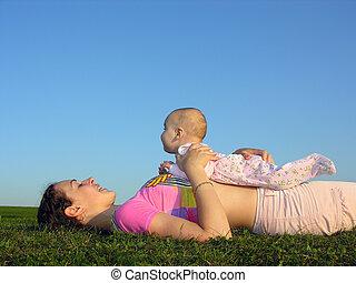 bambino, madre, sunse