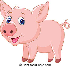 bambino, maiale, cartone animato, carino