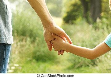 bambino, mani, genitore, natura