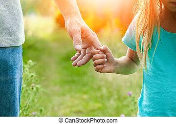 bambino, mani, natura, genitore
