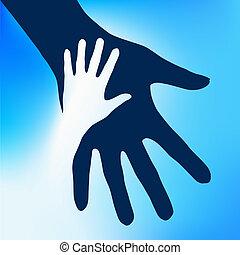 bambino, mani, porzione