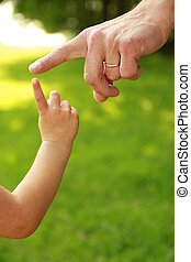 bambino, mano, genitore, natura