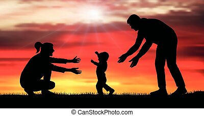 bambino, mask), mom., famiglia, vettore, illustration., silhouette, (clipping, primo, steps., evento, va