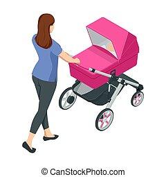 bambino, maternità, fondo., o, girls., passeggini, paternità, passeggino, isolato, bianco, tema, bambini, walks., ragazzi, isometrico, transport., donna, carrello