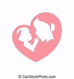 bambino, modellato, silhouette, presa a terra, cuore, madre