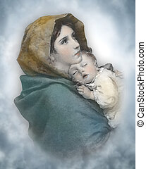 bambino, natività, madonna