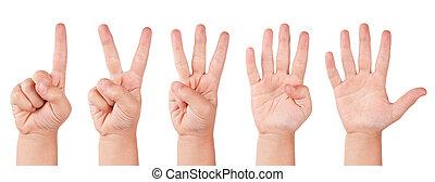bambino, numeri, dito