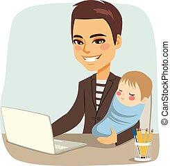 bambino, padre, lavorativo