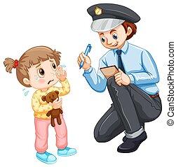 bambino, perso, registrazione, polizia