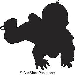 bambino, poco, silhouette