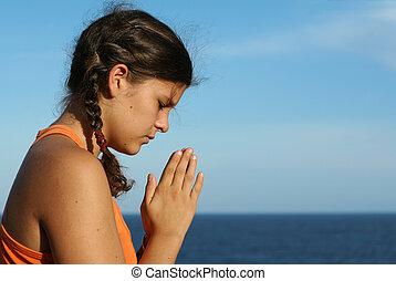 bambino, pregare, fuori