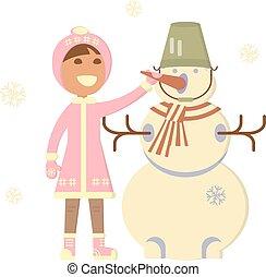 bambino, pupazzo di neve, ragazza