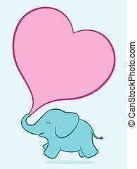 bambino, rosa, elefante, cuore