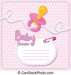 bambino, rosa, shower., scheda, sagoma