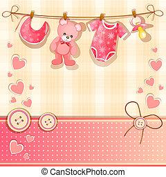 bambino, scheda, doccia, rosa