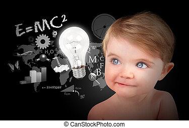 bambino, scienza, educazione, nero, giovane