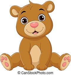 bambino sedendo, cartone animato, carino, orso