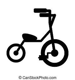 bambino, semplice, tricicli, icona