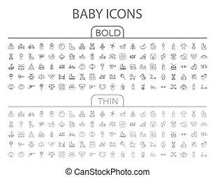 bambino, set, icona, vettore, appartamento
