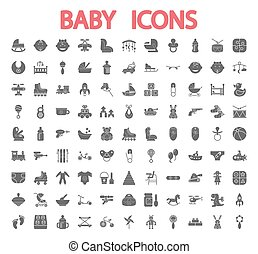 bambino, set., icone