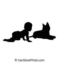 bambino, silhouette, illustrazione, gatto
