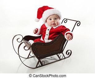 bambino, sleigh, seduta, santa