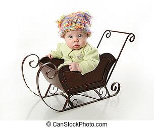 bambino, slitta, seduta