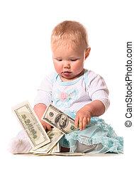 bambino, soldi, conteggio