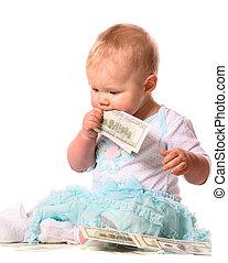 bambino, soldi, mangiare