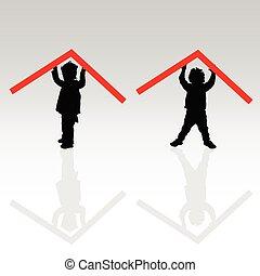 bambino, tetto, illustrazione, rosso
